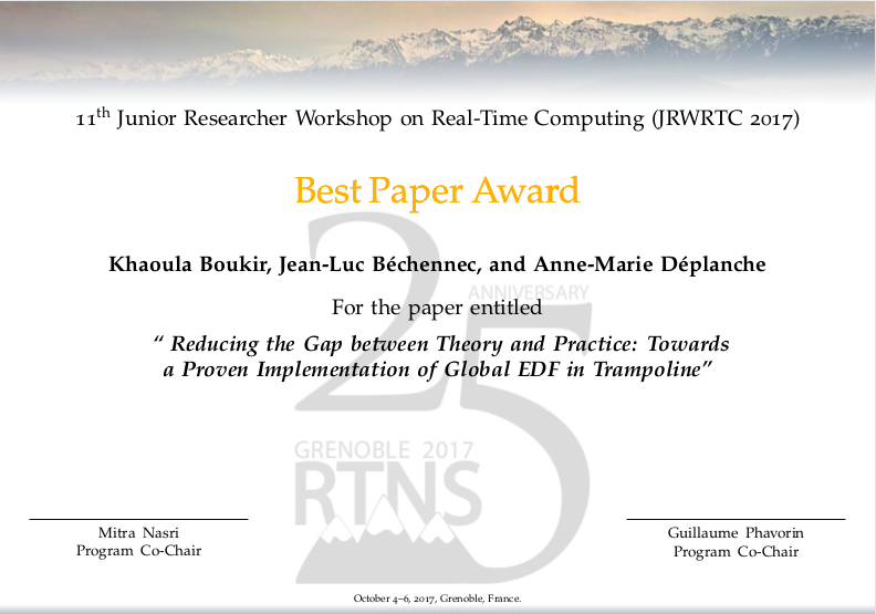 Best JRWRTC Paper Award
